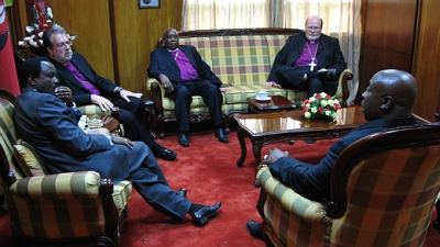 Patriarch, Archbishop Jones, Bishop Njoroge and Fathers Charles Brown and Scott Howard visit with Kenyan Vice-President